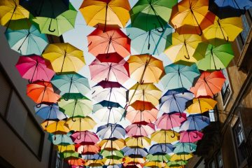 a roof of multicoloured umbrellas