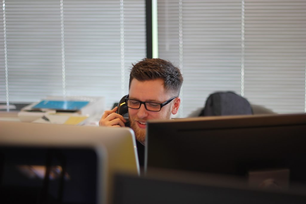 person on the phone in an office